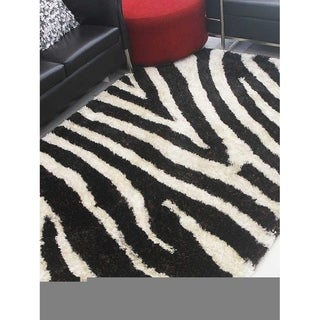 Transitional Animal Print Shag Area Rug Hand Tufted Polyester Carpet