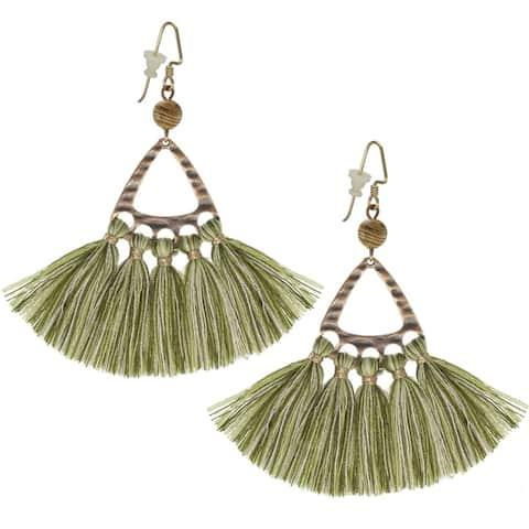 Bohemian Copper Triangle Tassel Earrings
