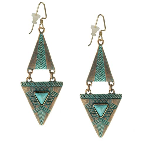 Handmade Bohemian Double Triangle Turquoise Patina Earrings - patina.turquoise