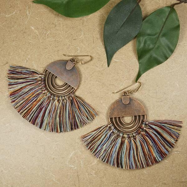 Wooden Moon Tassel Earrings