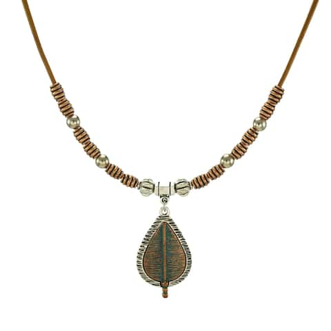Handmade Bohemian Two Tone Teardrop and Long Leather Necklace