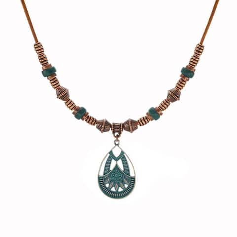 Bohemian Patina Patterned Teardrop & Long Leather Necklace - copper.patina