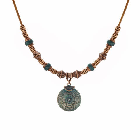 Bohemian Round Patina & Long Leather Necklace - copper.patina