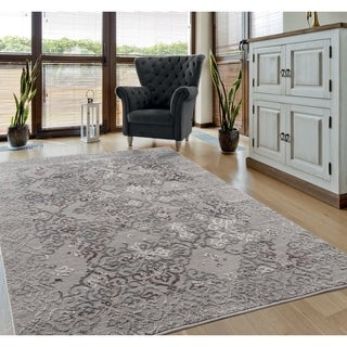 Porch & Den Rickey Distressed Hi-low Scrollwork Area Rug