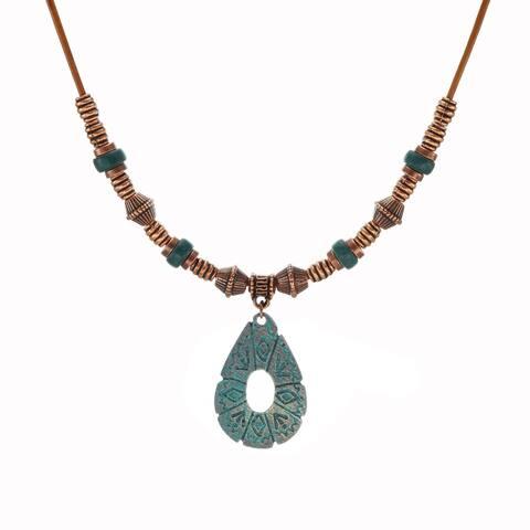 Handmade Bohemian Patina Open Teardrop& Long Leather Necklace - copper.patina
