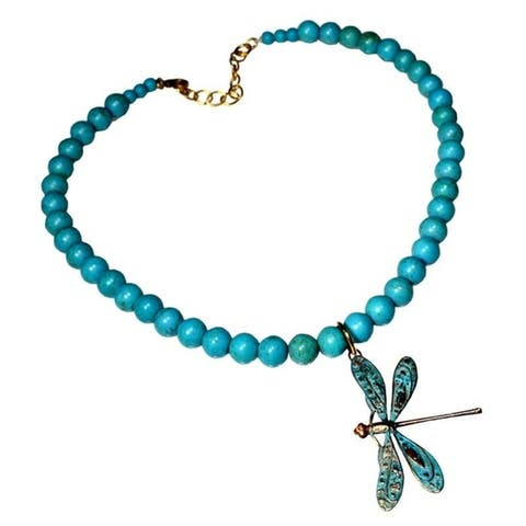 Handmade Patina Detailed Dragonfly on Turquoise Necklace (USA) - 19""