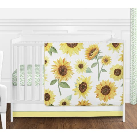 Sweet Jojo Designs Yellow Green and White Boho Floral Sunflower Girl 4-pc Nursery Crib Bedding Set - Farmhouse Watercolor Flower