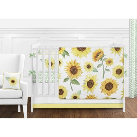 Sweet Jojo Designs Yellow Green and White Boho Floral Sunflower Girl 9-pc Nursery Crib Bedding Set - Farmhouse Watercolor Flower