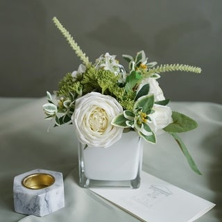 Artificial Roses and Succulents Arrangement in White Cube Glass Vase
