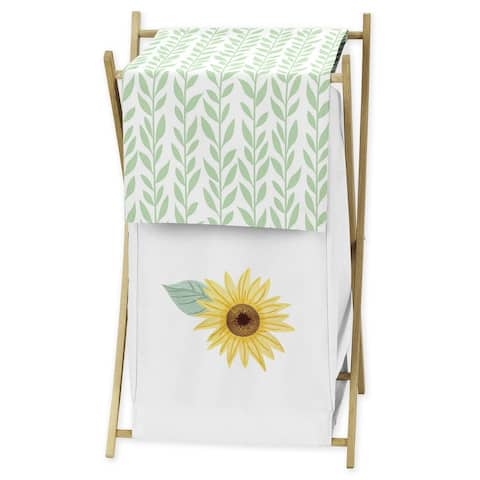 Sweet Jojo Designs Yellow, Green and White Boho Floral Sunflower Collection Laundry Hamper - Farmhouse Watercolor Flower