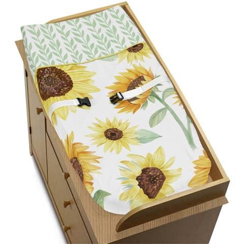 Sweet Jojo Designs Yellow and Green White Boho Floral Sunflower Collection Girl Changing Pad Cover - Farmhouse Watercolor Flower