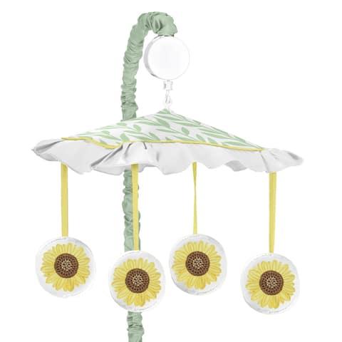 Sweet Jojo Designs Yellow Green White Boho Floral Sunflower Collection Girl Musical Crib Mobile - Farmhouse Watercolor Flower