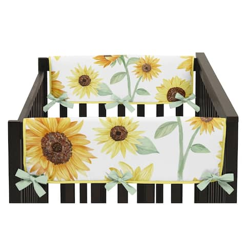 Yellow Green and White Boho Floral Sunflower Baby Girl Side Crib Rail Guard Covers (Set of 2) - Farmhouse Watercolor Flower