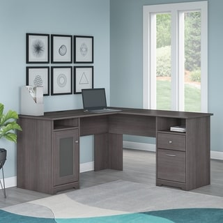 Porch & Den Burgas Heather Grey 60W L Shaped Computer Desk