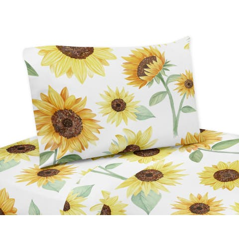 Sweet Jojo Designs Yellow, Green and White Boho Floral Sunflower Collection 3-piece Twin Sheet Set - Farmhouse Watercolor Flower