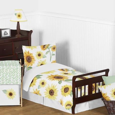 Sweet Jojo Designs Yellow Green White Boho Floral Sunflower Girl 5-pc Toddler-size Comforter Set - Farmhouse Watercolor Flower