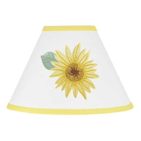 Sweet Jojo Designs Yellow, Green and White Boho Floral Sunflower Collection Lamp Shade - Farmhouse Watercolor Flower