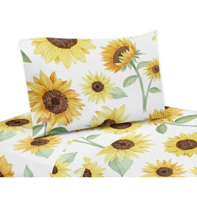 Sweet Jojo Designs Yellow Green and White Boho Floral Sunflower Collection 4-piece Queen Sheet Set - Farmhouse Watercolor Flower