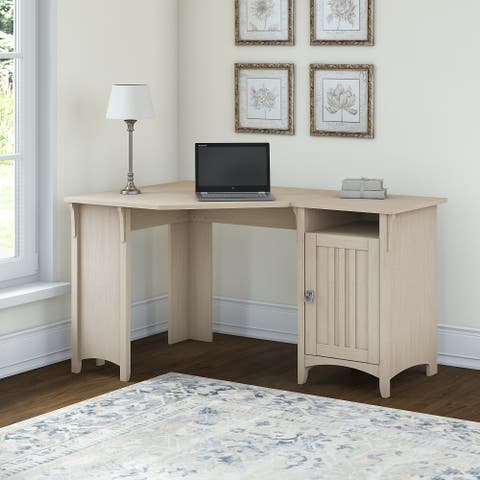 The Curated Nomad Corner Desk with Storage by Bush Furniture in Antique White