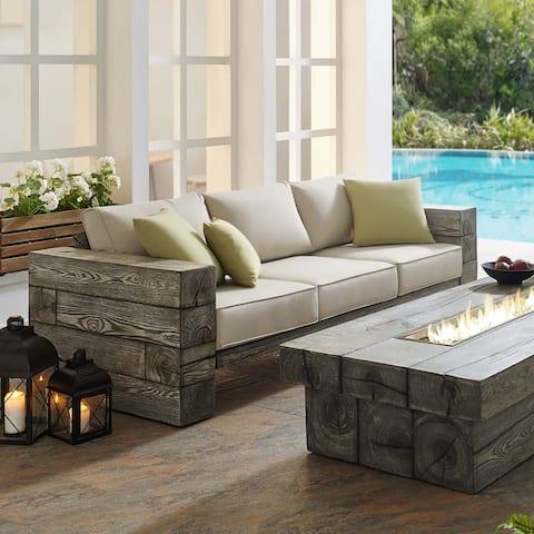 Manteo Rustic Coastal Outdoor Patio Sofa