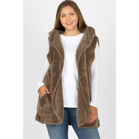 JED Women's Plus Size Soft Fleece Hoodie Cocoon Vest