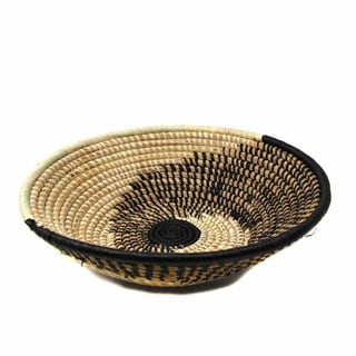 Handmade Sisal Spiral Natural Black Fruit Basket