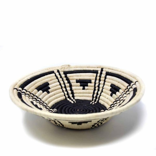The Curated Nomad Sparrow Handmade Sisal Black Geometric Fruit Basket