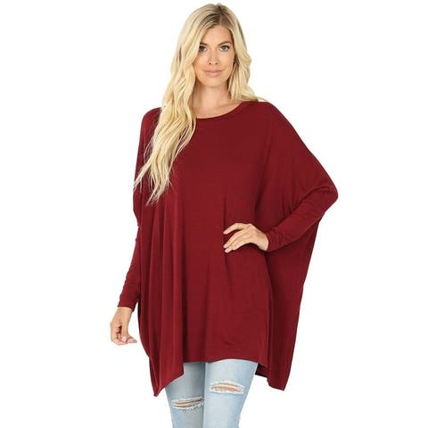 JED Women's Relax Fit Batwing Sleeve Knit Tunic Top