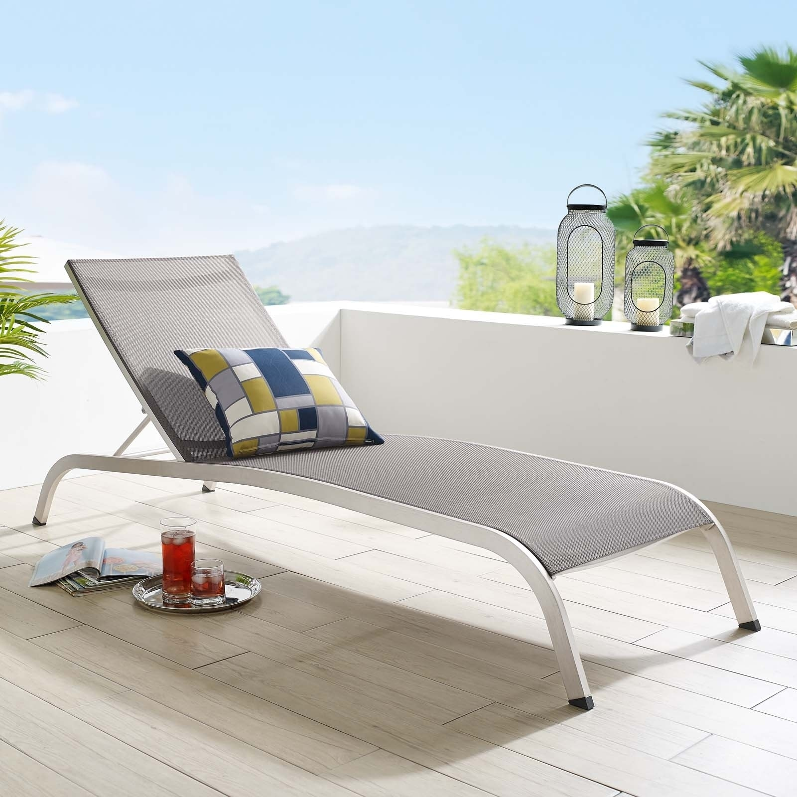 Mesh Chaise Outdoor Patio Lounge Chair