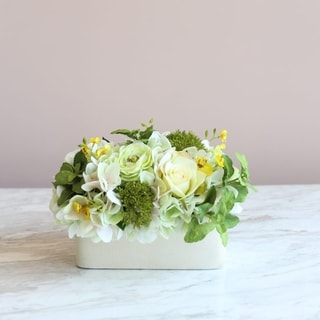 Mixed Silk Rose, Hydrangea and Greenery Flower Arrangement In Ceramic Vase
