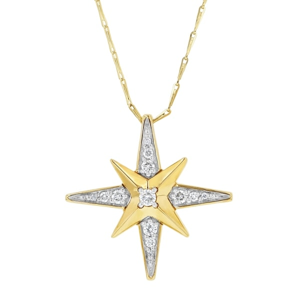 14k Yellow Gold 1/4ct. TDW Diamond Starburst Necklace by Beverly Hills Charm