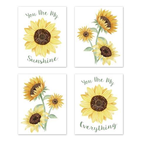 Sweet Jojo Designs Yellow Green Boho Floral Sunflower Collection Wall Decor Art Prints (Set of 4) - Farmhouse Watercolor Flower