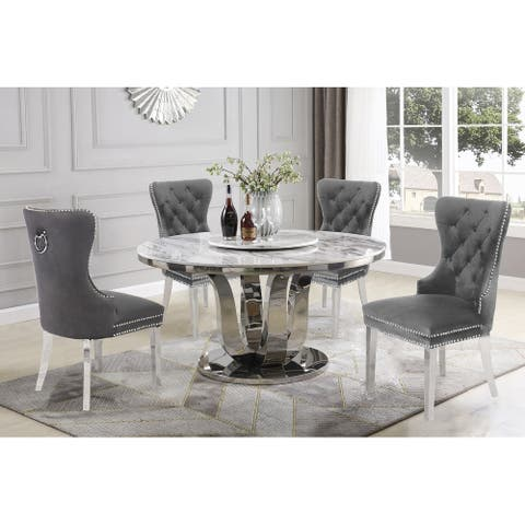 Best Quality Furniture 6-Piece Dining Set w/ Faux Marble Table Top and Lazy Susan