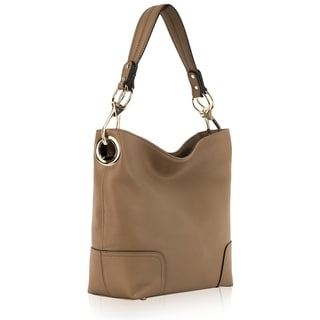 Orli Collection Faux Leather Fashion Bag Double handle with long strap-Ivory