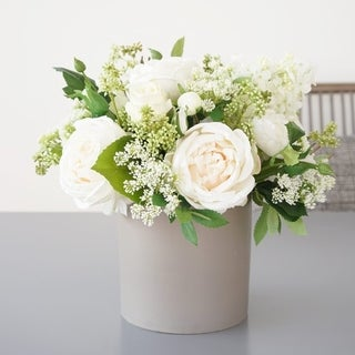 Mixed Silk Peony, Hydrangea and Greenery Flowers Arrangement in Grey Vase