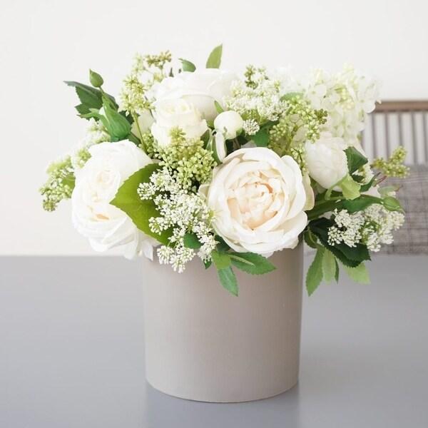 Mixed Silk Peony, Hydrangea and Greenery Flowers Arrangement in Grey Vase