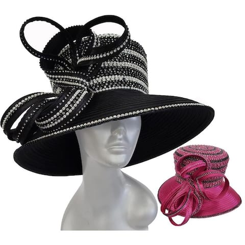 Women's 2 Tone Designer Couture satin ribbon church Kentucky derby hat