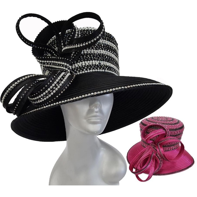 Women/'s Designer Couture Church Satin Ribbon Crystal Rhinestone Hat Fuchsia