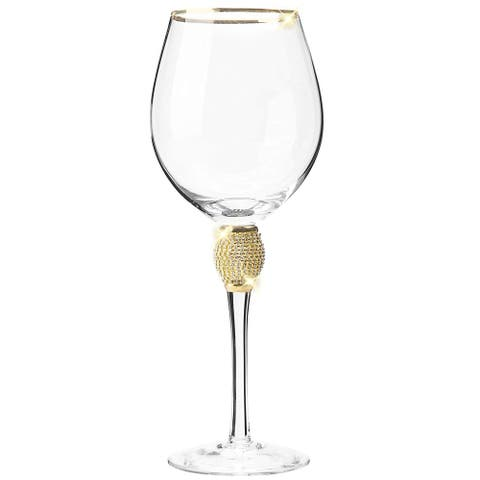 Cheer Collection Red Wine Glass with Rhinestone Design and Gold Rim