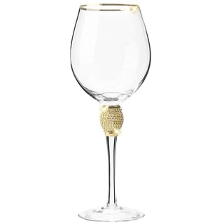 Link to Cheer Collection Red Wine Glass with Rhinestone Design and Gold Rim Similar Items in Glasses & Barware