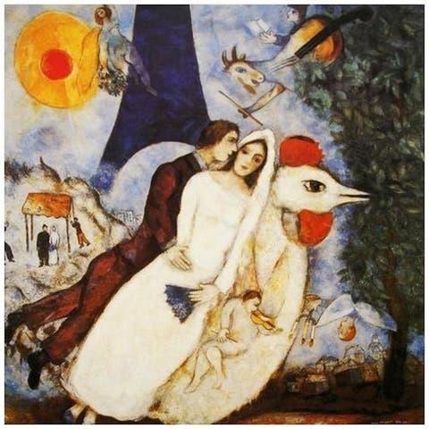 CANVAS The Fiances Of The Eiffel Tower (Les Fiances De La Tour Eiffel) by Marc Chagall