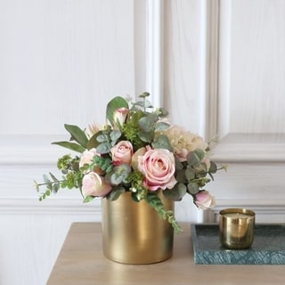 Faux  Mixed Rose and Greenery Arrangement in Gold Ceramic Vase