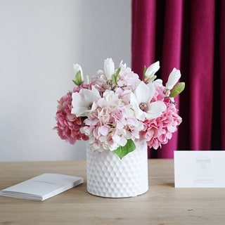 Faux Hydrangea and Magnolia Flower Arrangement in White Ceramic Vase