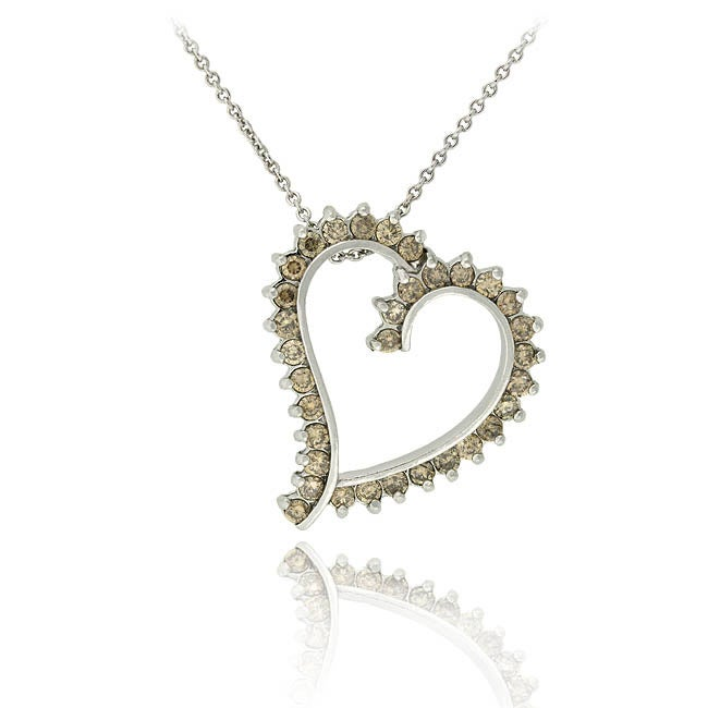 DB Designs Sterling Silver 1ct TDW Champagne Diamond Necklace