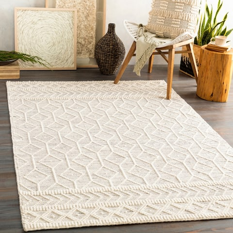 Eda Handmade Geo Farmhouse Wool Area Rug