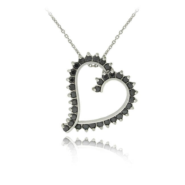 DB Designs Sterling Silver 1ct Black Diamond Heart Necklace