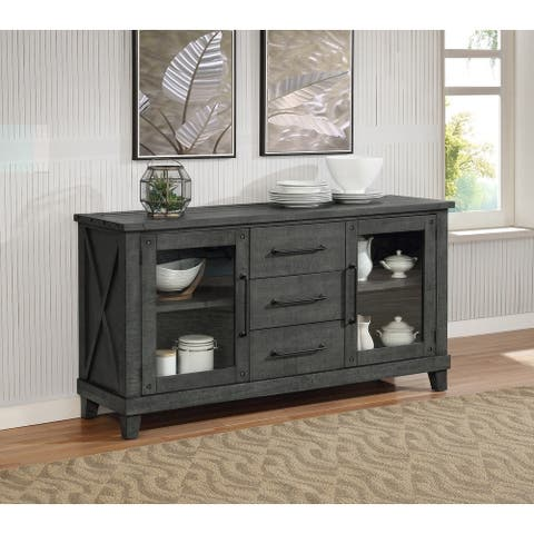 Best Quality Furniture Rustic Grey Dining Server Only