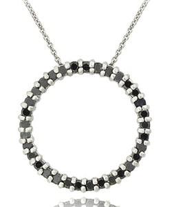 DB Designs Sterling Silver 1ct TDW Black Diamond Circle Necklace