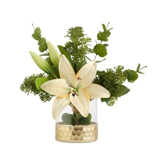 Faux Real Touch Lily Arrangement in Glass Vase