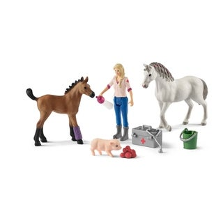 Schleich, Farm World, Vet Visiting Mare and Foal Toy Figurines Playset